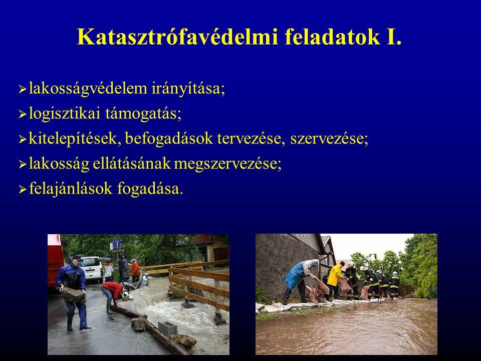  lakosságvédelem irányítása;  logisztikai támogatás;  kitelepítések, befogadások tervezése, szervezése;  lakosság ellátásának megszervezése;  fel