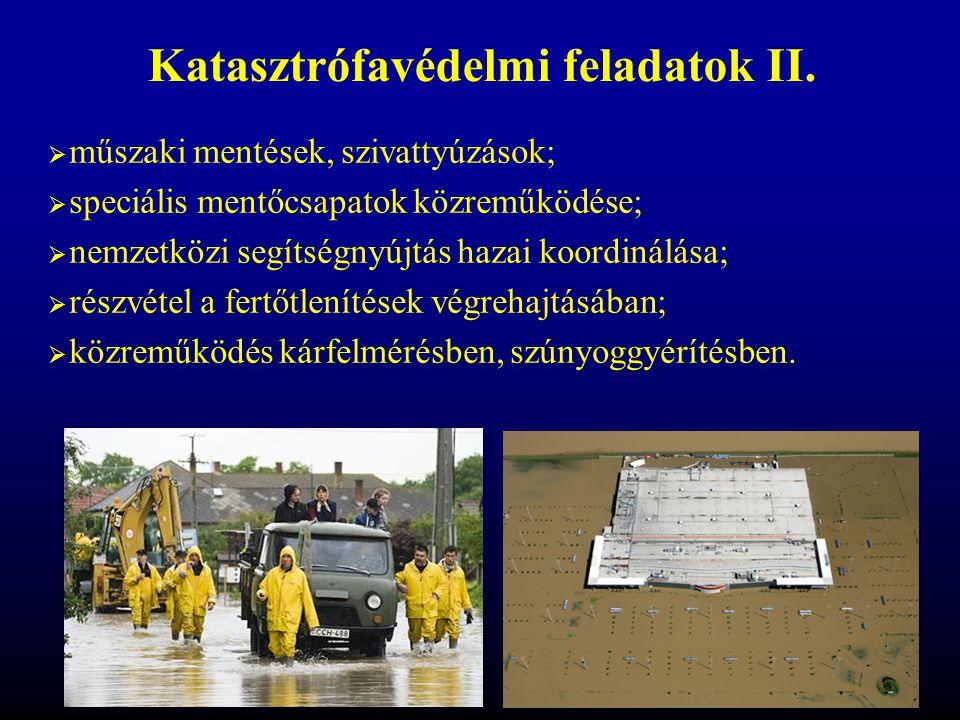  műszaki mentések, szivattyúzások;  speciális mentőcsapatok közreműködése;  nemzetközi segítségnyújtás hazai koordinálása;  részvétel a fertőtlení