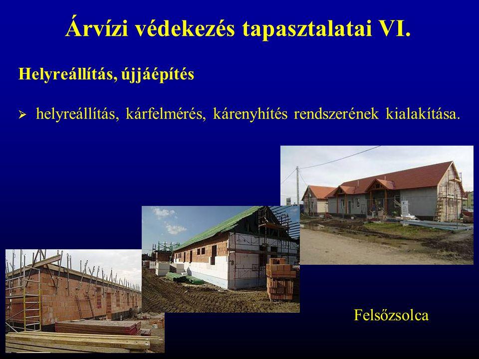 Árvízi védekezés tapasztalatai VI. Helyreállítás, újjáépítés  helyreállítás, kárfelmérés, kárenyhítés rendszerének kialakítása. Felsőzsolca