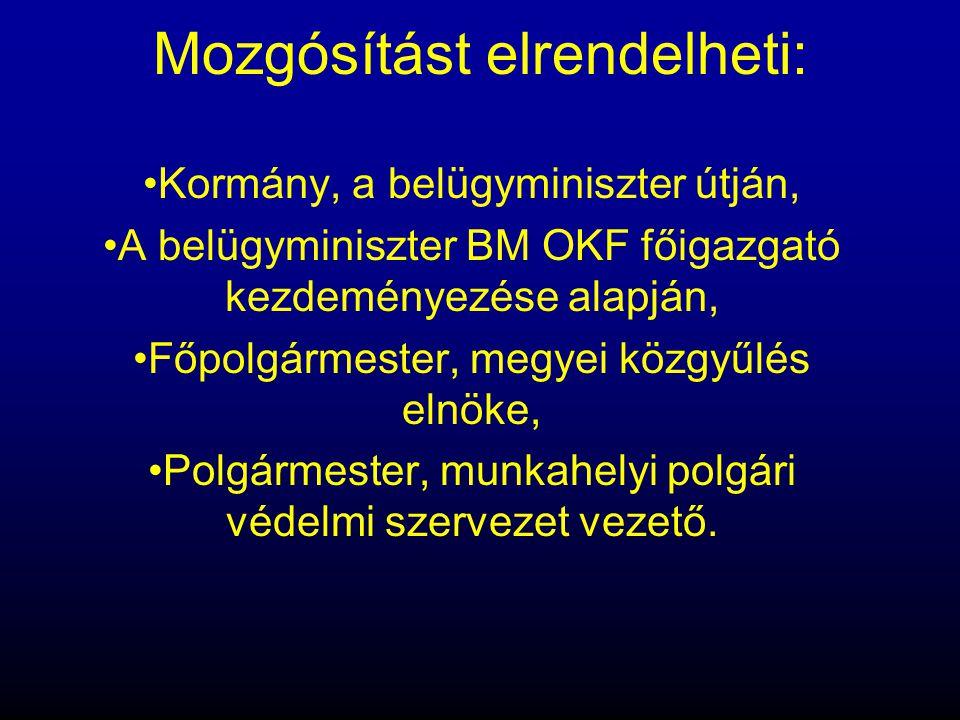 Mozgósítást elrendelheti: •Kormány, a belügyminiszter útján, •A belügyminiszter BM OKF főigazgató kezdeményezése alapján, •Főpolgármester, megyei közg