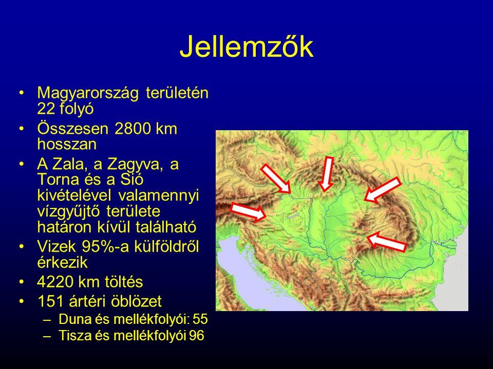 Jellemzők •Magyarország területén 22 folyó •Összesen 2800 km hosszan •A Zala, a Zagyva, a Torna és a Sió kivételével valamennyi vízgyűjtő területe hat