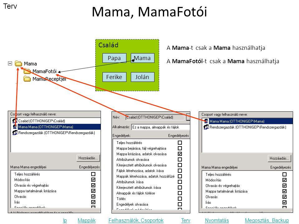 Terv Ip MappákFelhasználók, CsoportokTervNyomtatásMegosztás, Backup Mama, MamaFotói Család FerikeJolán Papa Mama A MamaFotói-t csak a Mama használhatja A Mama-t csak a Mama használhatja