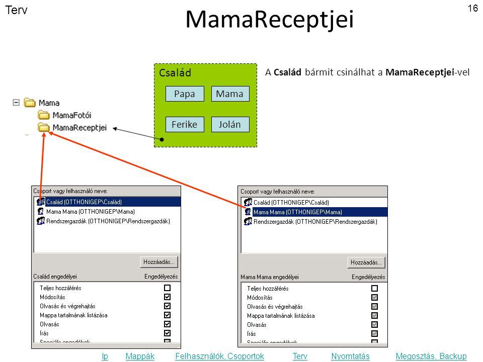 Terv Ip MappákFelhasználók, CsoportokTervNyomtatásMegosztás, Backup MamaReceptjei Család FerikeJolán Papa Mama A Család bármit csinálhat a MamaReceptjei-vel 16
