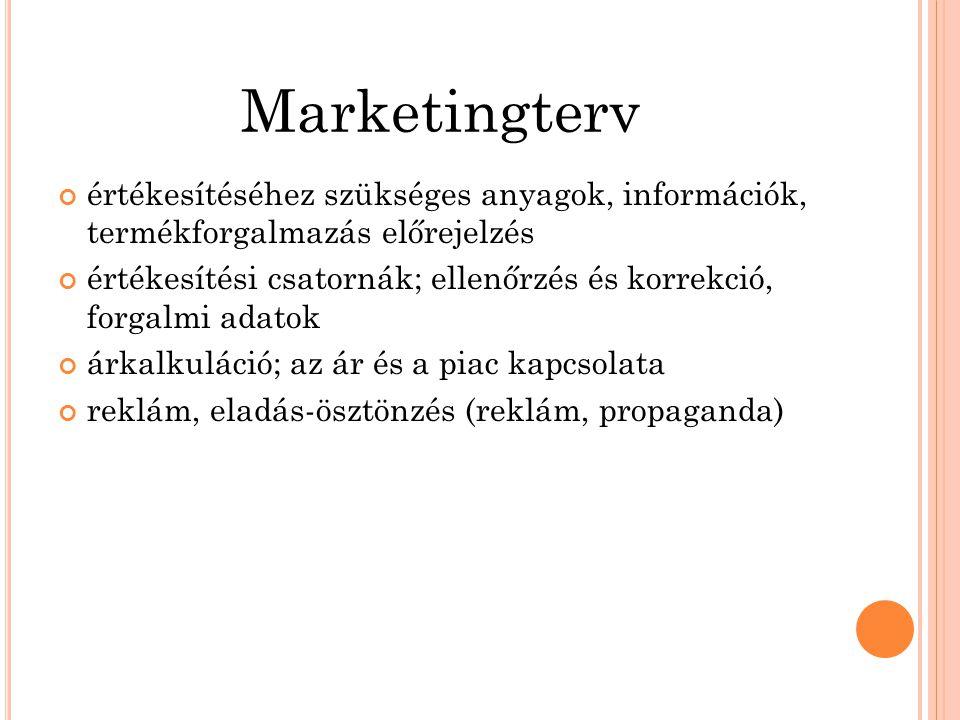Marketingterv értékesítéséhez szükséges anyagok, információk, termékforgalmazás előrejelzés értékesítési csatornák; ellenőrzés és korrekció, forgalmi