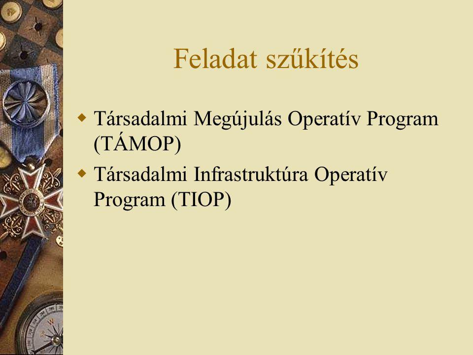 Feladat szűkítés  Társadalmi Megújulás Operatív Program (TÁMOP)  Társadalmi Infrastruktúra Operatív Program (TIOP)