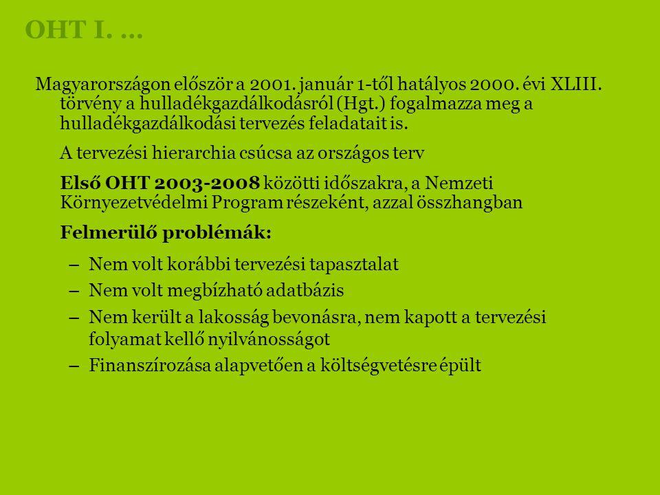 OHT I. … Magyarországon először a 2001. január 1-től hatályos 2000. évi XLIII. törvény a hulladékgazdálkodásról (Hgt.) fogalmazza meg a hulladékgazdál