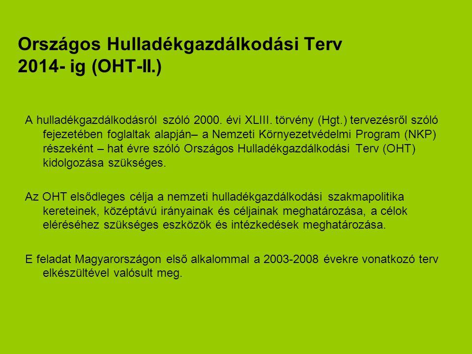 A második Országos Hulladékgazdálkodási Terv (OHT-II.) a hulladékgazdálkodás 2009-2014 évek közötti időtartamára határozza meg a szakmai kereteket és célokat, a megvalósítás eszközeit.