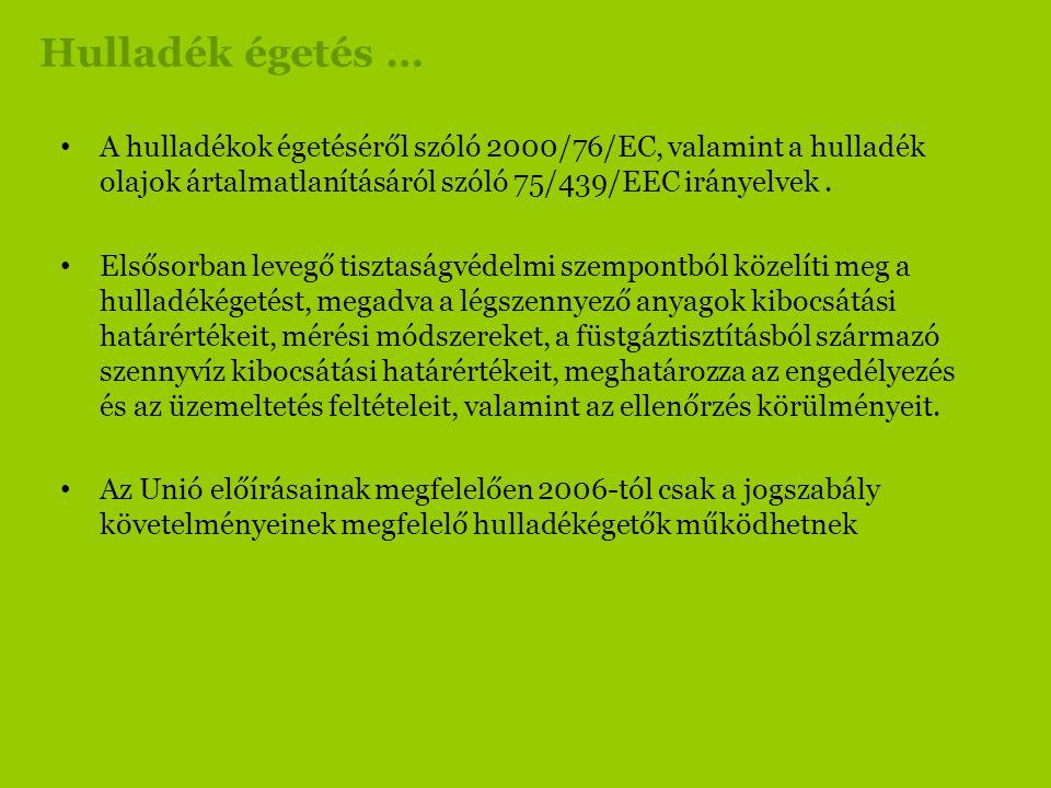Hulladék égetés … • A hulladékok égetéséről szóló 2000/76/EC, valamint a hulladék olajok ártalmatlanításáról szóló 75/439/EEC irányelvek. • Elsősorban