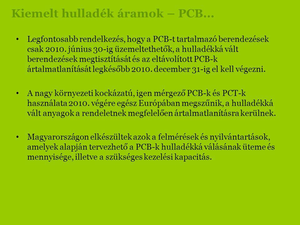 Kiemelt hulladék áramok – PCB... • Legfontosabb rendelkezés, hogy a PCB-t tartalmazó berendezések csak 2010. június 30-ig üzemeltethetők, a hulladékká