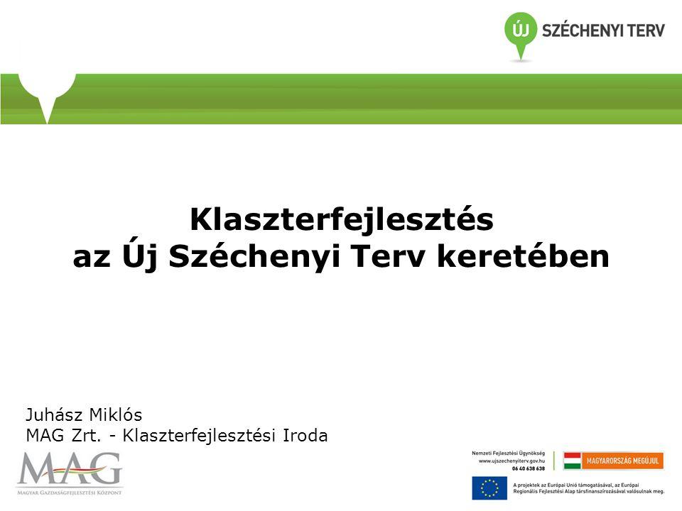 Klaszterfejlesztés az Új Széchenyi Terv keretében Juhász Miklós MAG Zrt. - Klaszterfejlesztési Iroda