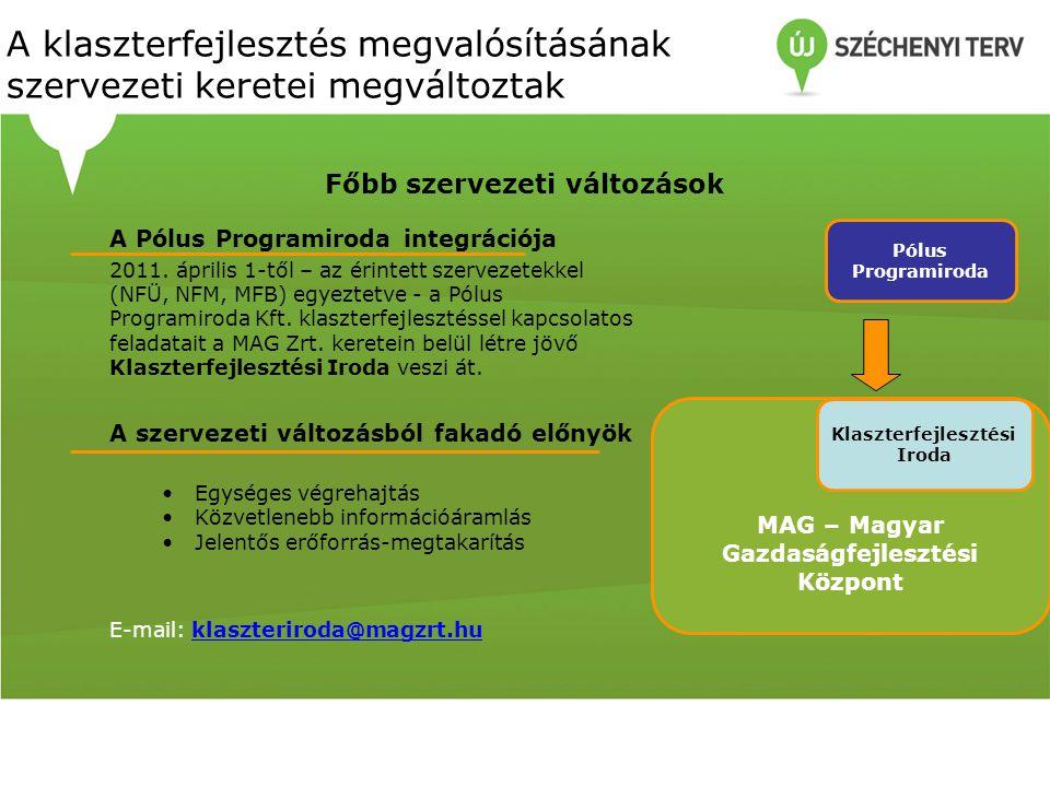A Pólus Programiroda integrációja 2011. április 1-től – az érintett szervezetekkel (NFÜ, NFM, MFB) egyeztetve - a Pólus Programiroda Kft. klaszterfejl