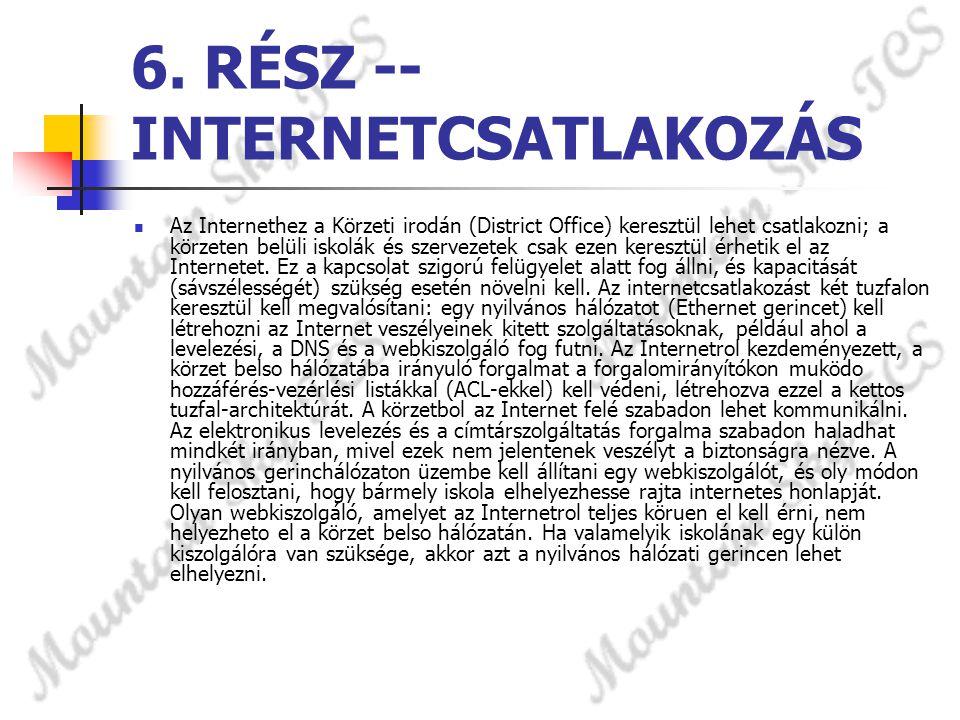 6. RÉSZ -- INTERNETCSATLAKOZÁS  Az Internethez a Körzeti irodán (District Office) keresztül lehet csatlakozni; a körzeten belüli iskolák és szervezet