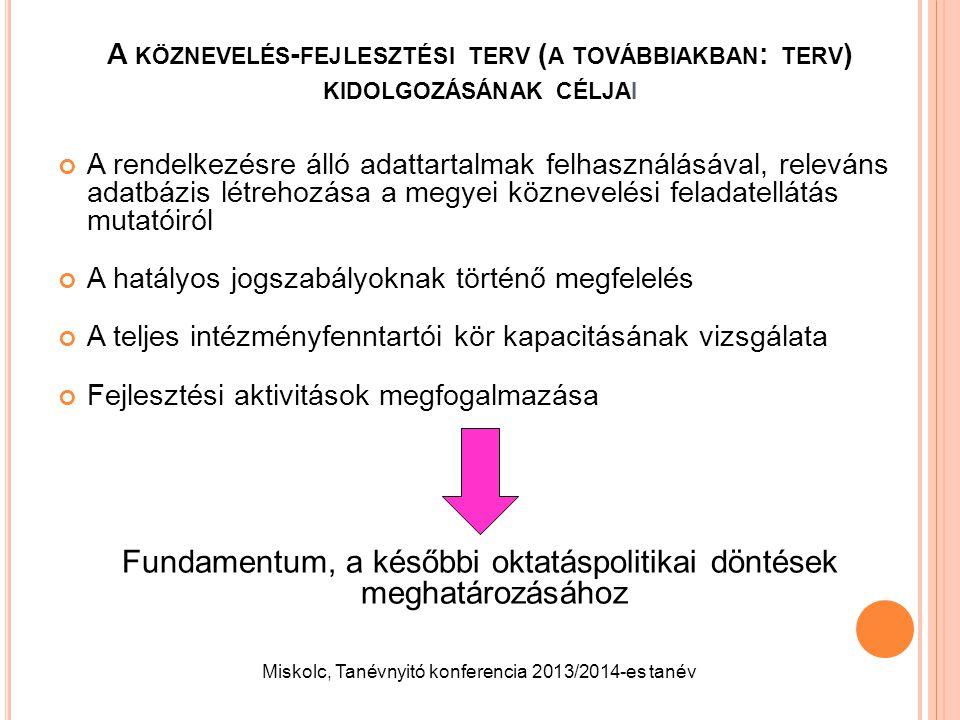 A KÖZNEVELÉS - FEJLESZTÉSI TERV ( A TOVÁBBIAKBAN : TERV ) KIDOLGOZÁSÁNAK CÉLJAI A rendelkezésre álló adattartalmak felhasználásával, releváns adatbázi
