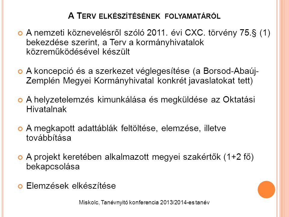 A T ERV ELKÉSZÍTÉSÉNEK FOLYAMATÁRÓL A nemzeti köznevelésről szóló 2011. évi CXC. törvény 75.§ (1) bekezdése szerint, a Terv a kormányhivatalok közremű