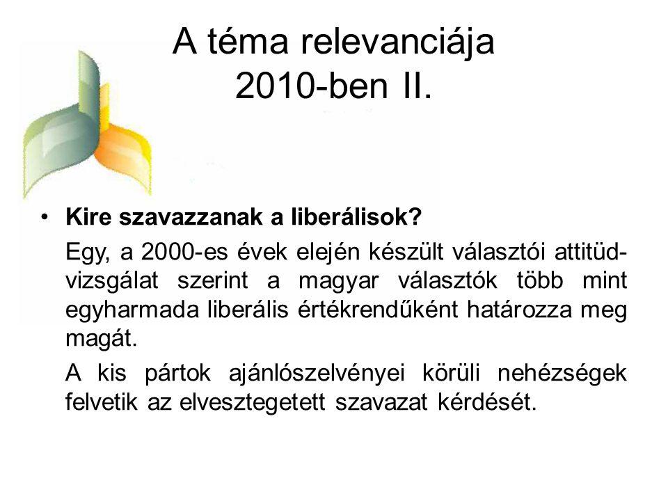 A téma relevanciája 2010-ben II. •Kire szavazzanak a liberálisok? Egy, a 2000-es évek elején készült választói attitüd- vizsgálat szerint a magyar vál