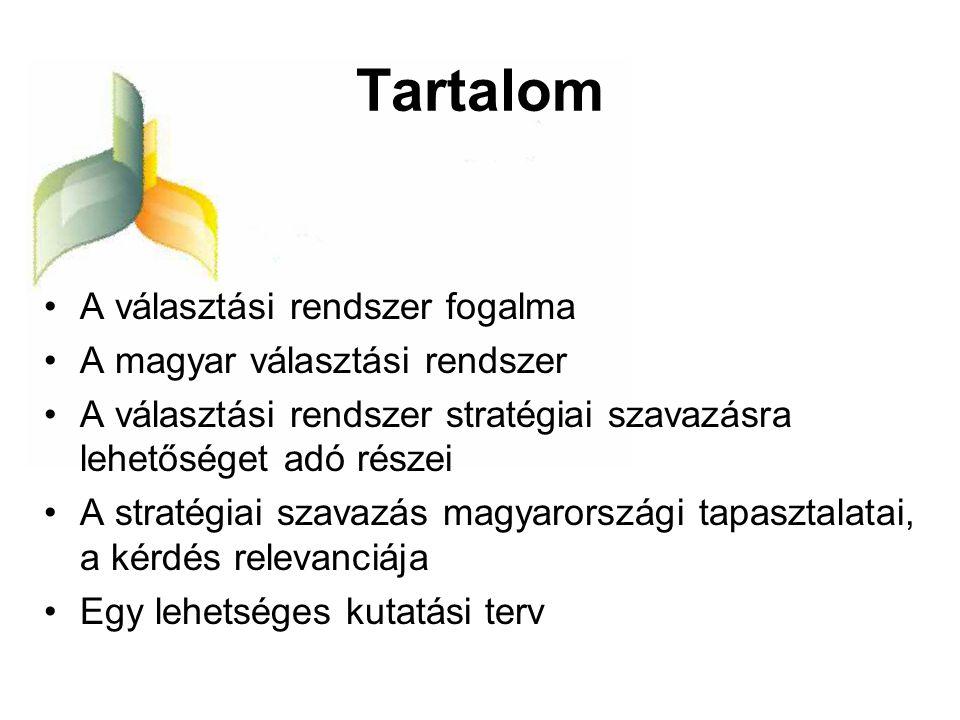 Tartalom •A választási rendszer fogalma •A magyar választási rendszer •A választási rendszer stratégiai szavazásra lehetőséget adó részei •A stratégia