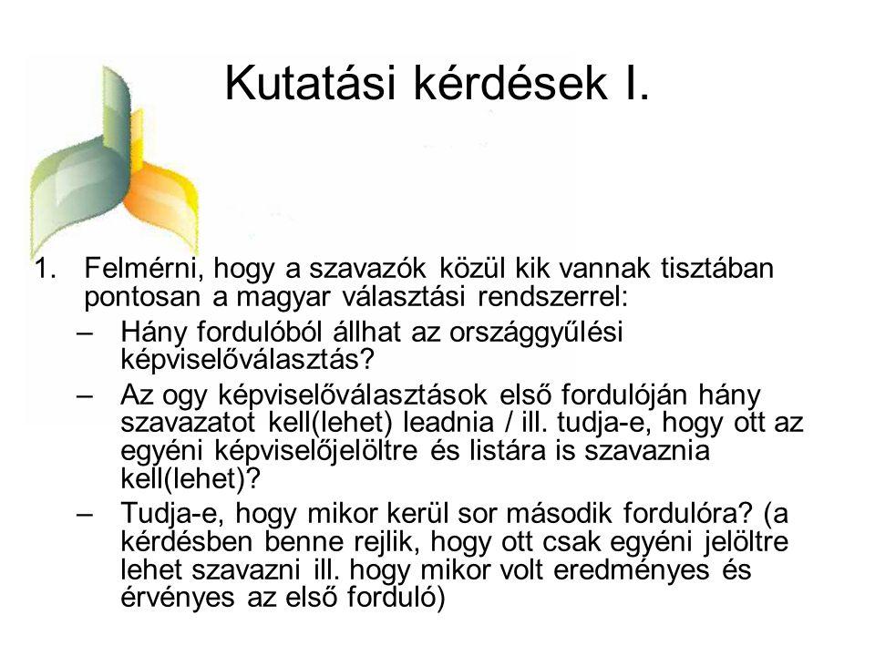 Kutatási kérdések I. 1.Felmérni, hogy a szavazók közül kik vannak tisztában pontosan a magyar választási rendszerrel: –Hány fordulóból állhat az orszá