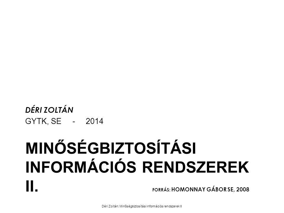 MINŐSÉGBIZTOSÍTÁSI INFORMÁCIÓS RENDSZEREK II. FORRÁS: HOMONNAY GÁBOR SE, 2008 DÉRI ZOLTÁN GYTK, SE - 2014 Déri Zoltán: Minőségbiztosítási információs