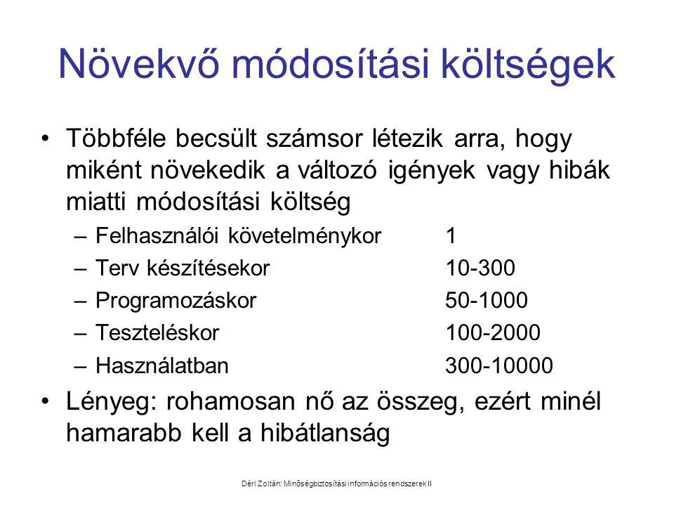 Déri Zoltán: Minőségbiztosítási információs rendszerek II Növekvő módosítási költségek •Többféle becsült számsor létezik arra, hogy miként növekedik a