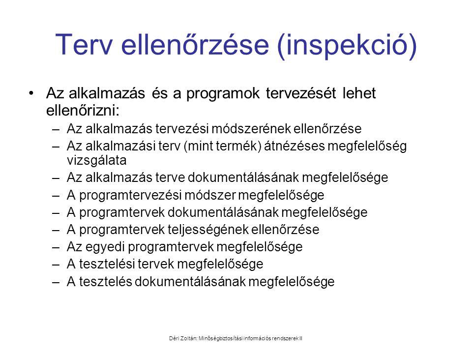 Déri Zoltán: Minőségbiztosítási információs rendszerek II Terv ellenőrzése (inspekció) •Az alkalmazás és a programok tervezését lehet ellenőrizni: –Az