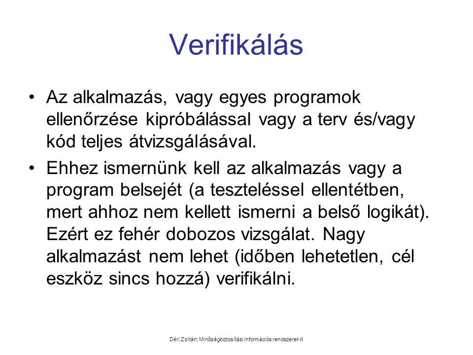 Déri Zoltán: Minőségbiztosítási információs rendszerek II Verifikálás •Az alkalmazás, vagy egyes programok ellenőrzése kipróbálással vagy a terv és/va