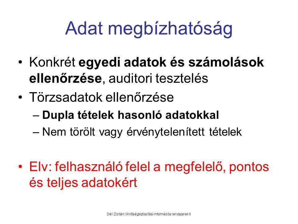Déri Zoltán: Minőségbiztosítási információs rendszerek II Adat megbízhatóság •Konkrét egyedi adatok és számolások ellenőrzése, auditori tesztelés •Tör