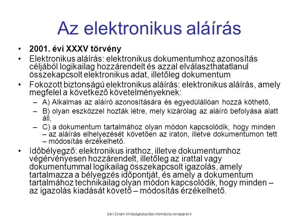 Déri Zoltán: Minőségbiztosítási információs rendszerek II Az elektronikus aláírás •2001. évi XXXV törvény •Elektronikus aláírás: elektronikus dokument