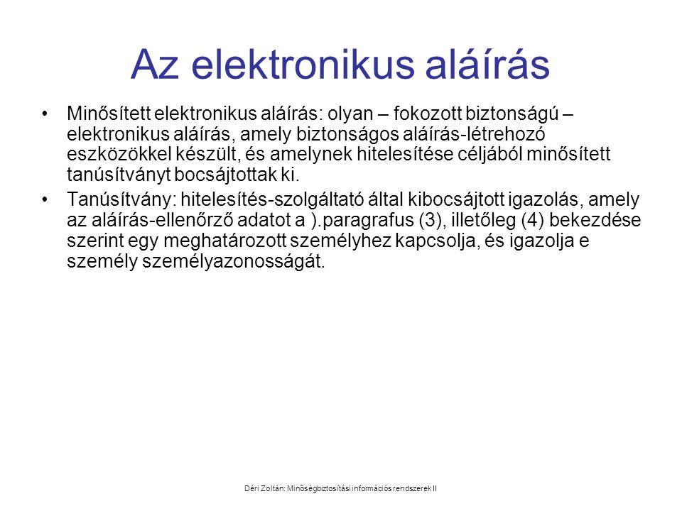 Déri Zoltán: Minőségbiztosítási információs rendszerek II Az elektronikus aláírás •Minősített elektronikus aláírás: olyan – fokozott biztonságú – elek