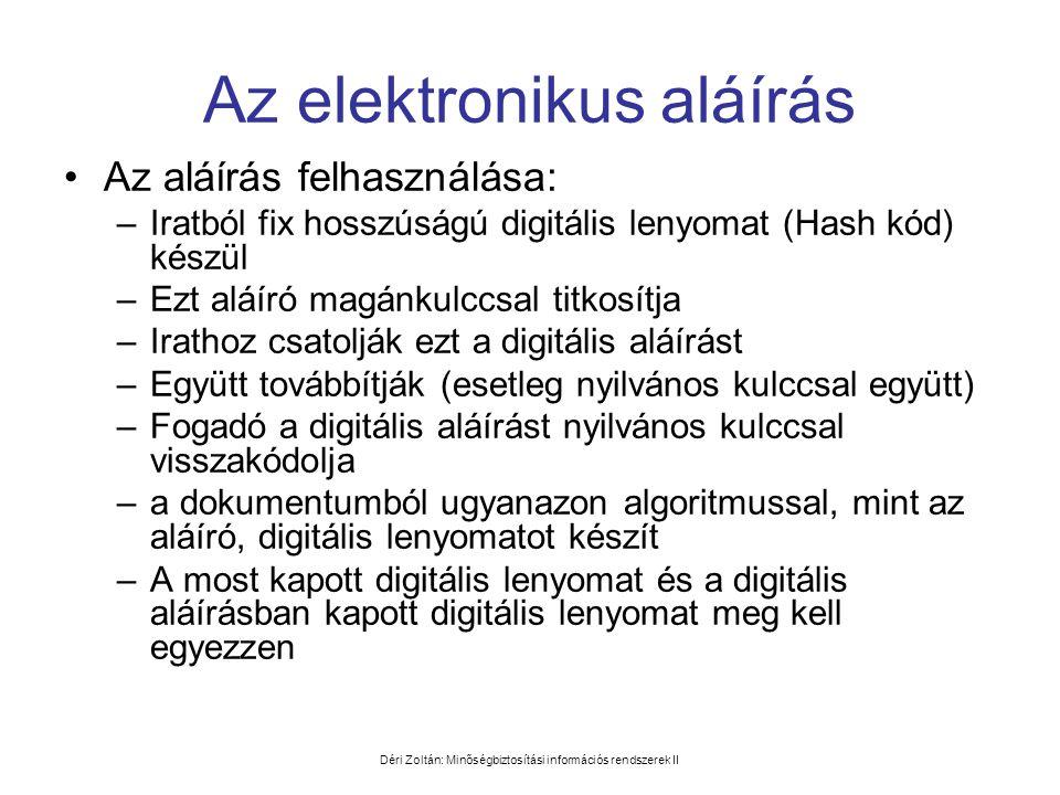 Déri Zoltán: Minőségbiztosítási információs rendszerek II Az elektronikus aláírás •Az aláírás felhasználása: –Iratból fix hosszúságú digitális lenyoma