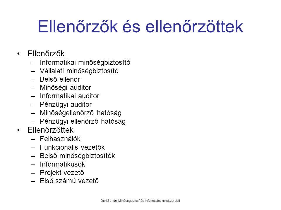 Déri Zoltán: Minőségbiztosítási információs rendszerek II Ellenőrzők és ellenőrzöttek •Ellenőrzők –Informatikai minőségbiztosító –Vállalati minőségbiz