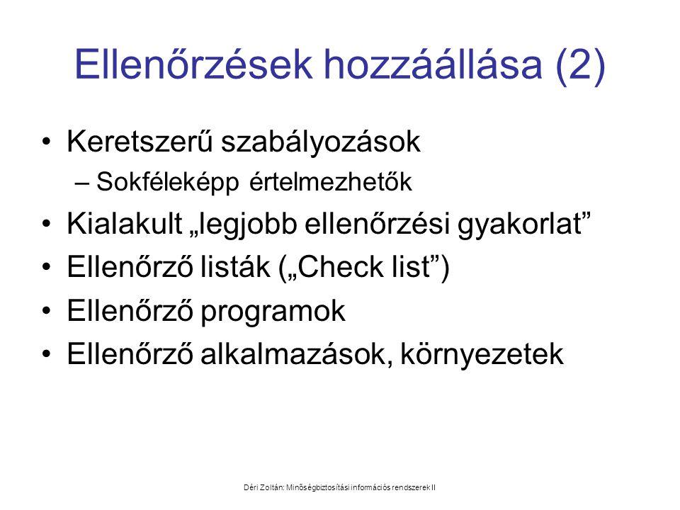 Déri Zoltán: Minőségbiztosítási információs rendszerek II Ellenőrzések hozzáállása (2) •Keretszerű szabályozások –Sokféleképp értelmezhetők •Kialakult