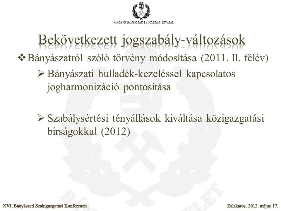  Bányászatról szóló törvény módosítása (2011. II. félév)  Bányászati hulladék-kezeléssel kapcsolatos jogharmonizáció pontosítása  Szabálysértési té