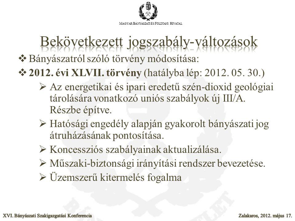  Bányászatról szóló törvény módosítása:  2012. évi XLVII. törvény (hatályba lép: 2012. 05. 30.)  Az energetikai és ipari eredetű szén-dioxid geológ