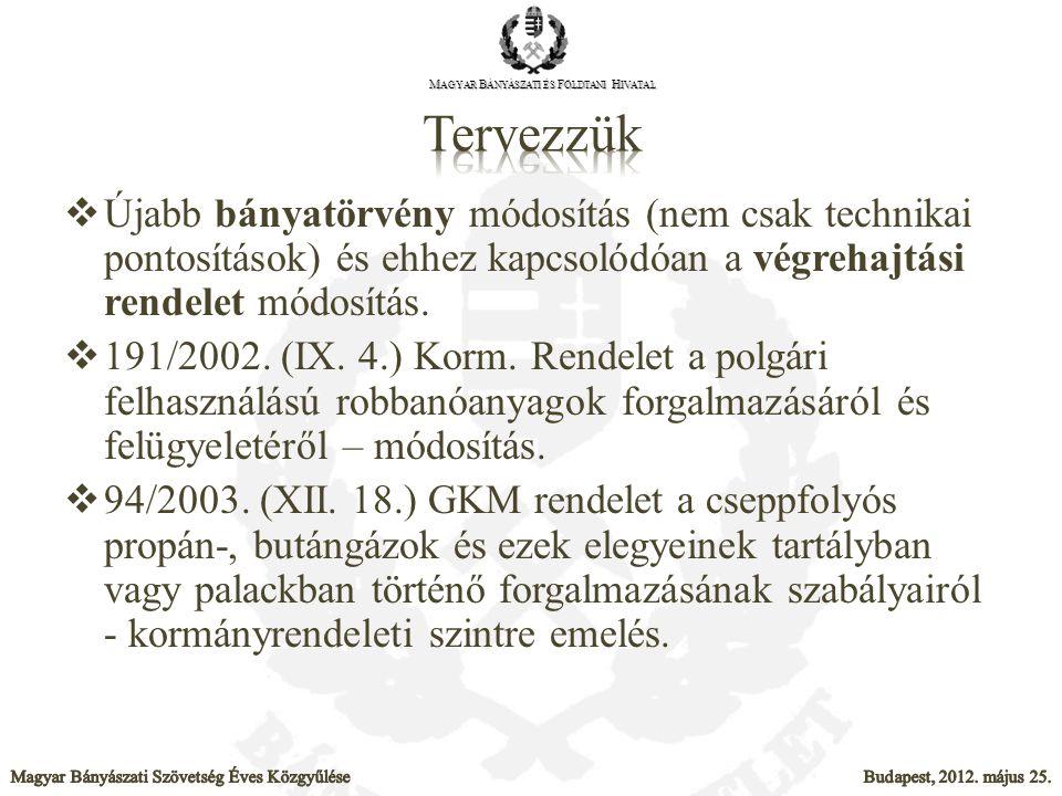  Újabb bányatörvény módosítás (nem csak technikai pontosítások) és ehhez kapcsolódóan a végrehajtási rendelet módosítás.  191/2002. (IX. 4.) Korm. R