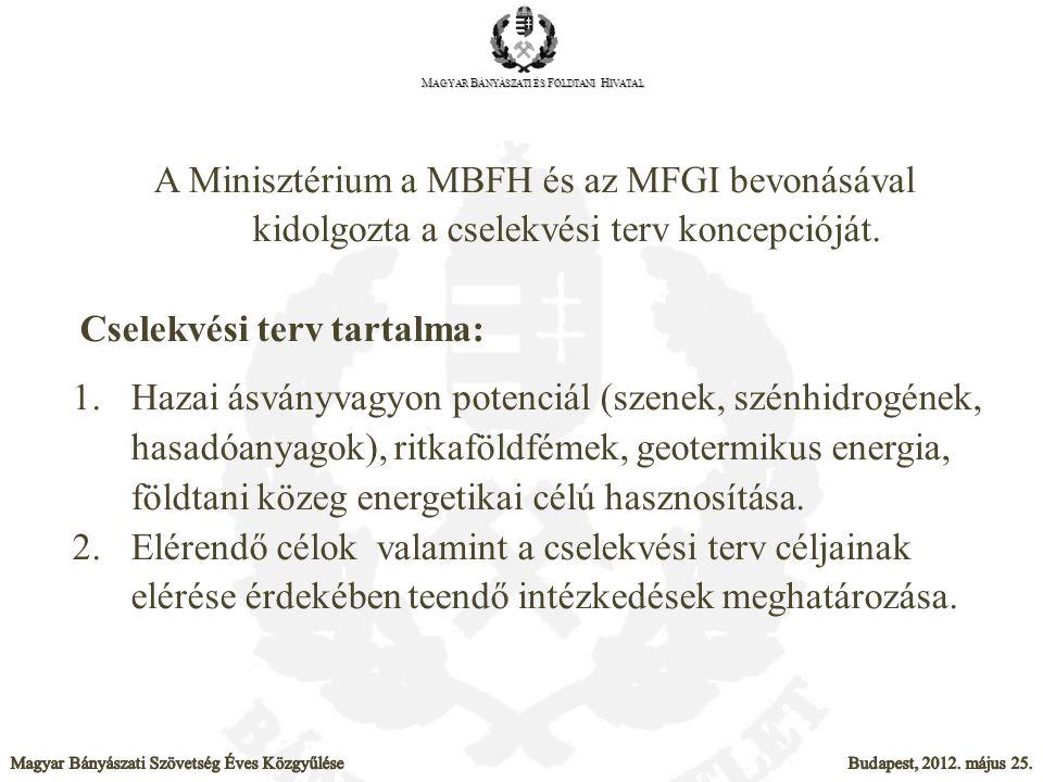 A Minisztérium a MBFH és az MFGI bevonásával kidolgozta a cselekvési terv koncepcióját. Cselekvési terv tartalma: 1.Hazai ásványvagyon potenciál (szen
