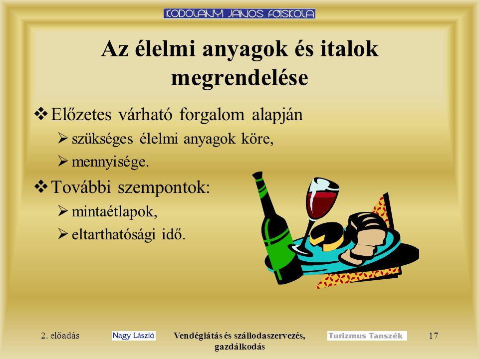 2. előadásVendéglátás és szállodaszervezés, gazdálkodás 17 Az élelmi anyagok és italok megrendelése  Előzetes várható forgalom alapján  szükséges él
