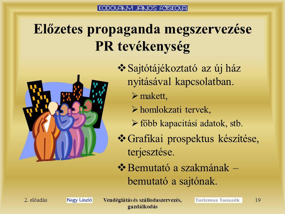 2. előadásVendéglátás és szállodaszervezés, gazdálkodás 19 Előzetes propaganda megszervezése PR tevékenység  Sajtótájékoztató az új ház nyitásával ka
