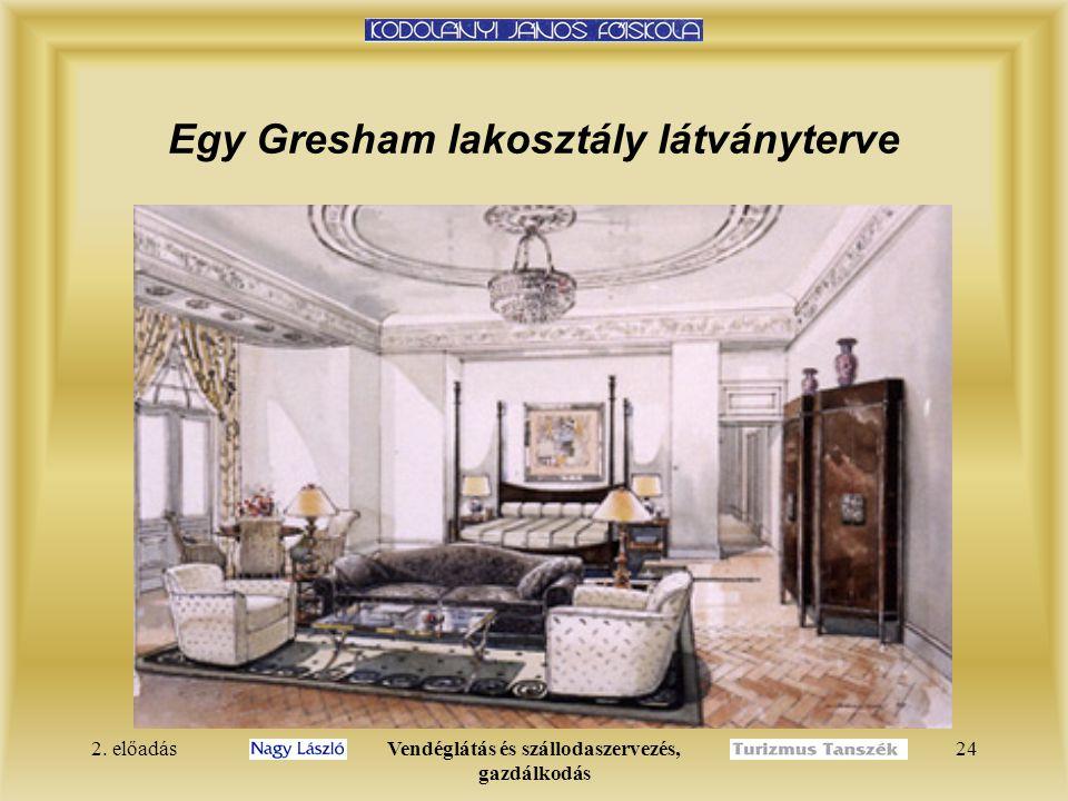 2. előadásVendéglátás és szállodaszervezés, gazdálkodás 24 Egy Gresham lakosztály látványterve