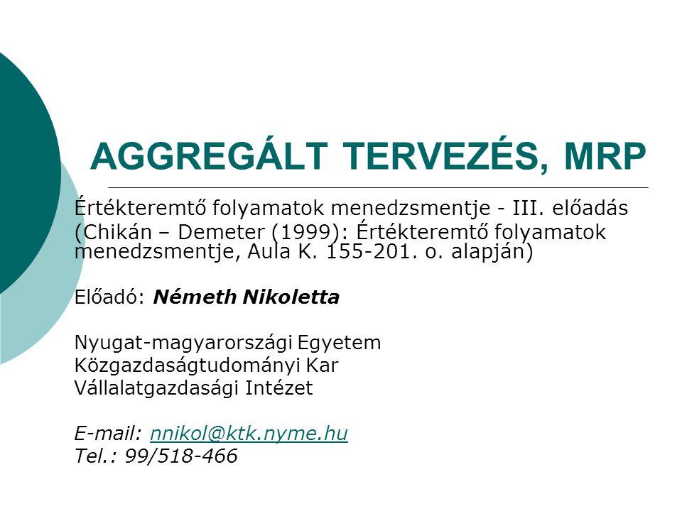 AGGREGÁLT TERVEZÉS, MRP Értékteremtő folyamatok menedzsmentje - III. előadás (Chikán – Demeter (1999): Értékteremtő folyamatok menedzsmentje, Aula K.