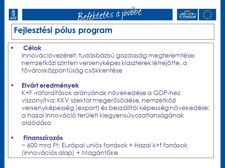 Fejlesztési pólus program • Célok Innovációvezérelt, tudásbázisú gazdaság megteremtése; nemzetközi szinten versenyképes klaszterek létrejötte, a fővár