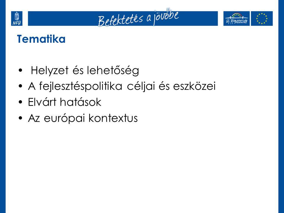 Tematika • Helyzet és lehetőség •A fejlesztéspolitika céljai és eszközei •Elvárt hatások •Az európai kontextus