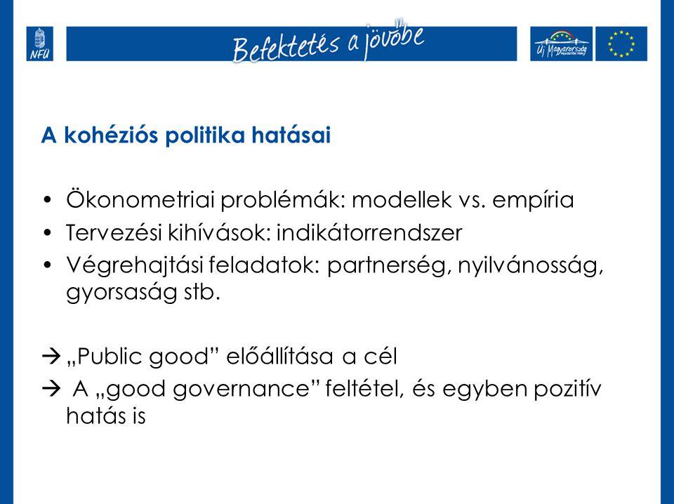 A kohéziós politika hatásai •Ökonometriai problémák: modellek vs. empíria •Tervezési kihívások: indikátorrendszer •Végrehajtási feladatok: partnerség,
