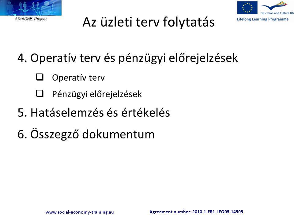 Agreement number: 2010-1-FR1-LEO05-14505 www.social-economy-training.eu ARIADNE Project Az üzleti terv folytatás 4.
