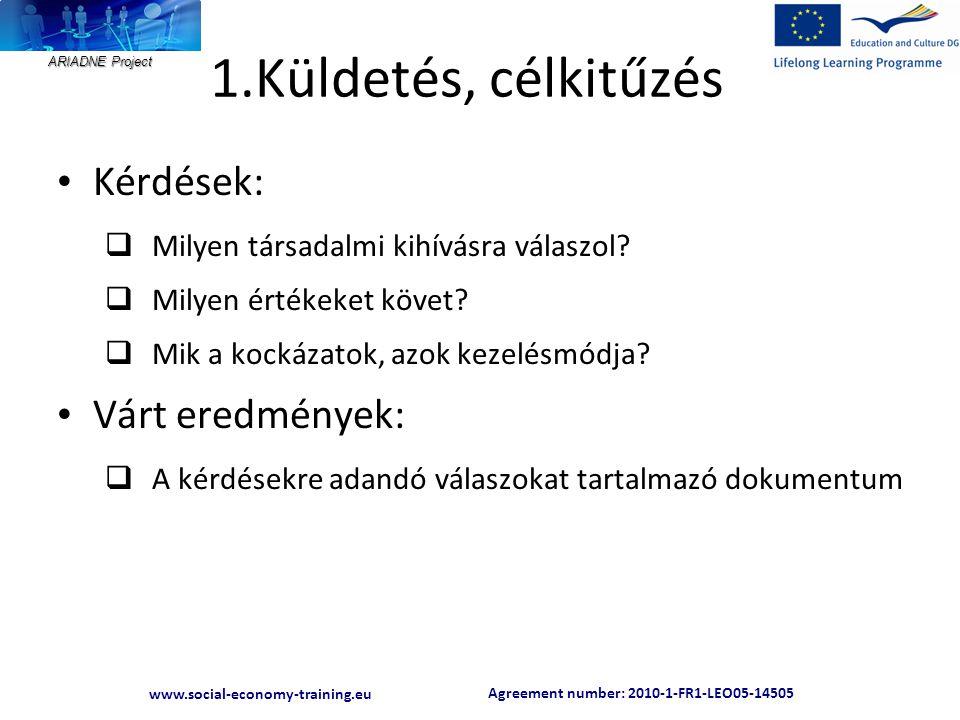 Agreement number: 2010-1-FR1-LEO05-14505 www.social-economy-training.eu ARIADNE Project 1.Küldetés, célkitűzés • Kérdések:  Milyen társadalmi kihívásra válaszol.
