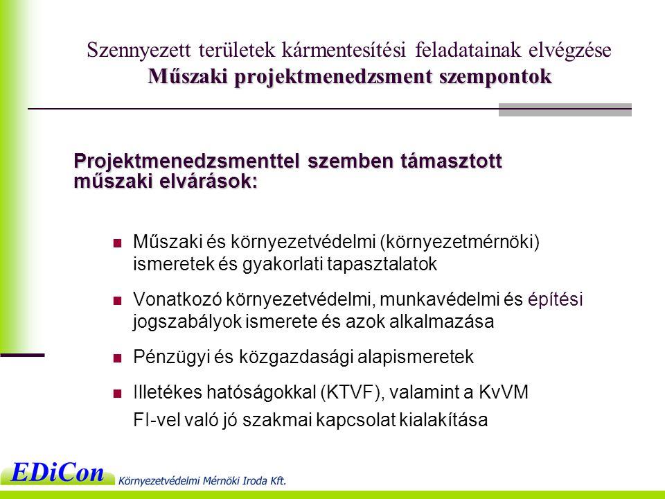 Projektmenedzsmenttel szemben támasztott műszaki elvárások:  Műszaki és környezetvédelmi (környezetmérnöki) ismeretek és gyakorlati tapasztalatok  Vonatkozó környezetvédelmi, munkavédelmi és építési jogszabályok ismerete és azok alkalmazása  Pénzügyi és közgazdasági alapismeretek  Illetékes hatóságokkal (KTVF), valamint a KvVM FI-vel való jó szakmai kapcsolat kialakítása Műszaki projektmenedzsment szempontok Szennyezett területek kármentesítési feladatainak elvégzése Műszaki projektmenedzsment szempontok