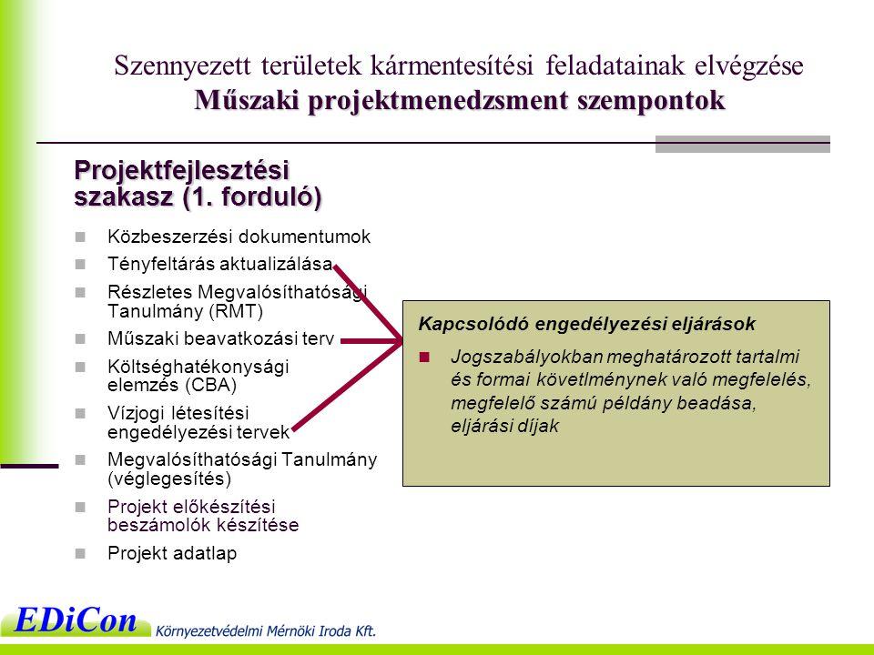 Műszaki projektmenedzsment szempontok Szennyezett területek kármentesítési feladatainak elvégzése Műszaki projektmenedzsment szempontok  Közbeszerzési dokumentumok  Tényfeltárás aktualizálása  Részletes Megvalósíthatósági Tanulmány (RMT)  Műszaki beavatkozási terv  Költséghatékonysági elemzés (CBA)  Vízjogi létesítési engedélyezési tervek  Megvalósíthatósági Tanulmány (véglegesítés)  Projekt előkészítési beszámolók készítése  Projekt adatlap Projektfejlesztési szakasz (1.