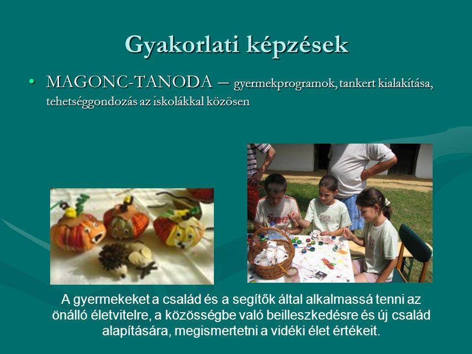 Gyakorlati képzések •MAGONC-TANODA – gyermekprogramok, tankert kialakítása, tehetséggondozás az iskolákkal közösen A gyermekeket a család és a segítők által alkalmassá tenni az önálló életvitelre, a közösségbe való beilleszkedésre és új család alapítására, megismertetni a vidéki élet értékeit.