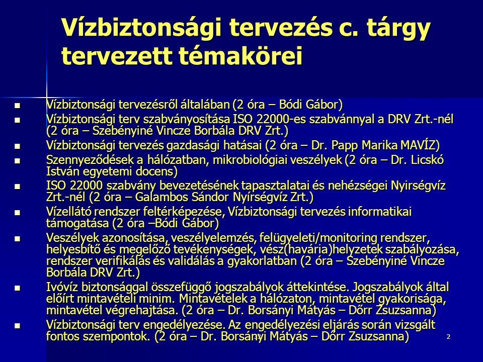 33 Vízbiztonsági rendszer működtetése Ábrák: Dombay G.