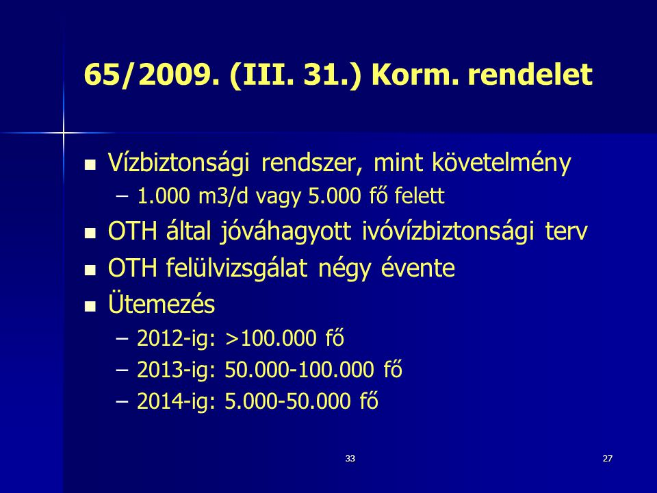 3327 65/2009. (III. 31.) Korm. rendelet   Vízbiztonsági rendszer, mint követelmény – –1.000 m3/d vagy 5.000 fő felett   OTH által jóváhagyott ivóv