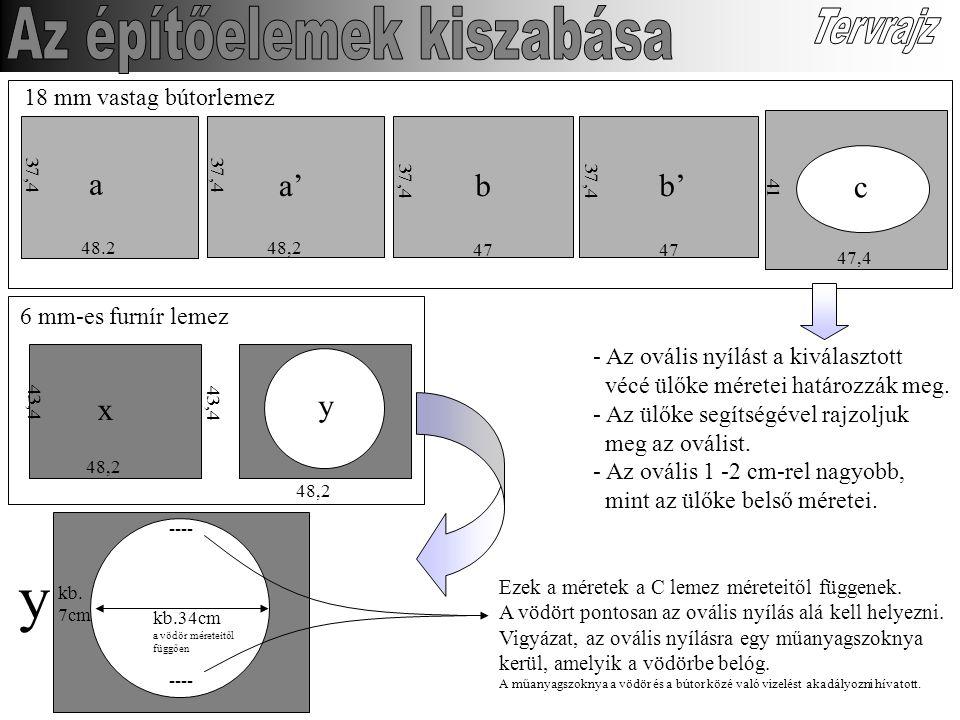 18 mm vastag bútorlemez 48.2 37,4 a 48,2 37,4 a' 47 37,4 47 37,4 b'b 41 47,4 c 6 mm-es furnír lemez kb.34cm a vödör méreteitől függően 48,2 43,4 x 48,